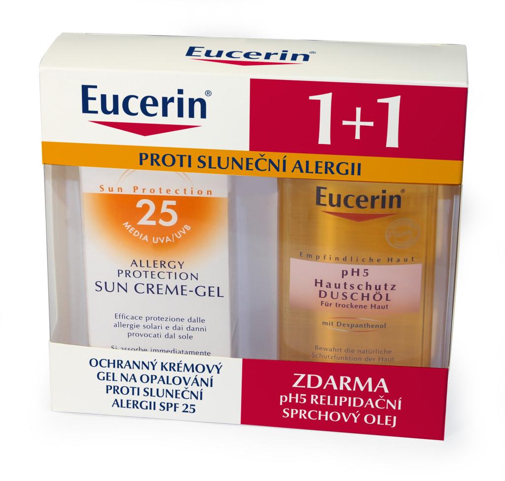 Eucerin Ochranný krémový gél na opaľovanie proti slnečnej alergii SPF 25 a Eucerin pH5 Relipidačný sprchový olej VÁŠ LEKÁRNIK